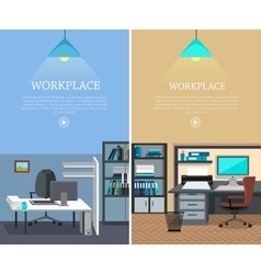 Set of Workplace Web Banners in Flat Design vector image