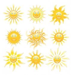 smiling shiny suns set vector image
