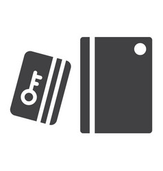 swipe card reader with keypad solid icon vector image