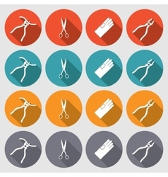 Tool icons set pliers gloves tongs scissors vector