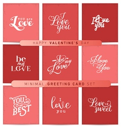 Valentines day red pastel minimal greeting cards vector