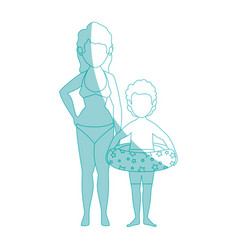Woman and her son icon vector