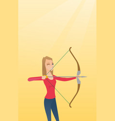Young caucasian archer training with a bow vector
