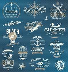 Set of travel and vacation emblems and symbols vector