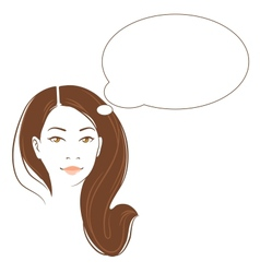 Portrait of beautiful thinking asian woman vector