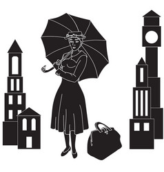 Mary poppins in the sky with an umbrella vector