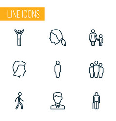 People outline icons set collection of male head vector