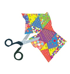 Quilt and scissors vector