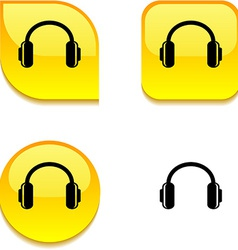 Headphones glossy button vector