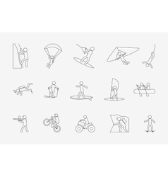 Extreme sports or outdoor activity in line style vector image