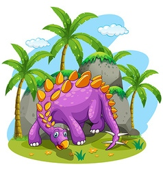 Purple dinosaur standing on the ground vector