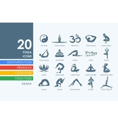 Set of yoga icons vector
