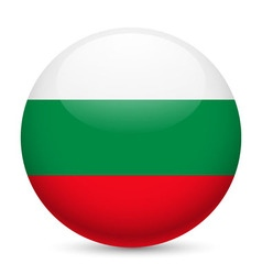 Round glossy icon of bulgaria vector image