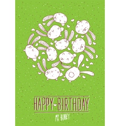 Happy birthday my bunny postcard vector