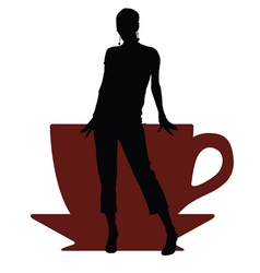Girl with cup of coffee vector