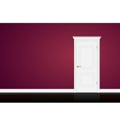 Closed white door on purple wall background vector image
