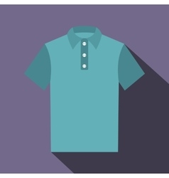 Blue polo shirt icon flat style vector image