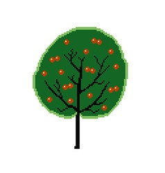 Pixel fruit tree vector