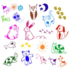 animal doodles vector image vector image