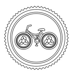 Circular frame contour with bike with recycling vector