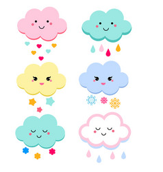 cute clouds for kids isolated vector image