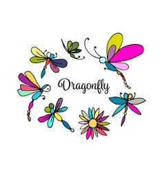 Dragonfly sketch for your design vector