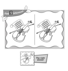 Find 9 differences game violin vector