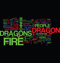 Fire dragons text background word cloud concept vector