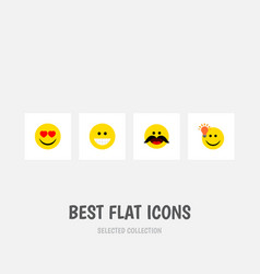 Flat icon face set of grin have an good opinion vector