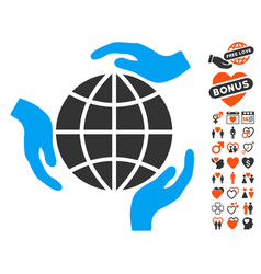 global protection icon with lovely bonus vector image