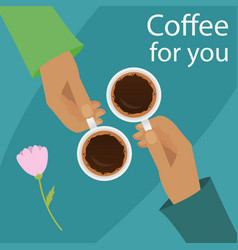 hands holding cup of coffee vector image vector image