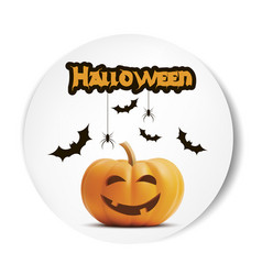 happy halloween white sticker font pumpkin vector image vector image