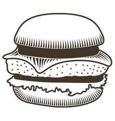 isolated burger sketch vector image vector image