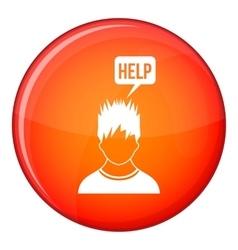 Man needs help icon flat style vector