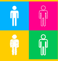 Man sign four styles of icon on four vector