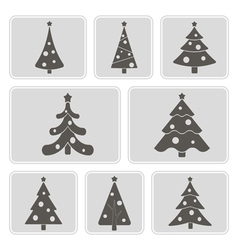 monochrome icons with Christmas trees vector image vector image