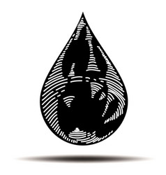 Oil drop in doodle style vector
