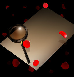 Old paper magnifier and red petals vector