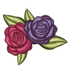 Realistic flower red rose and purple rose with vector