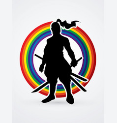 samurai warrior standing ready to fight with sword vector image