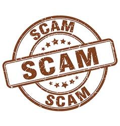scam brown grunge round vintage rubber stamp vector image vector image