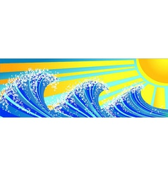 Sea waves and sun vector image