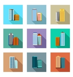 Set of flat design buildings objects vector image