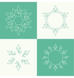Set of outline floral emblems vector image