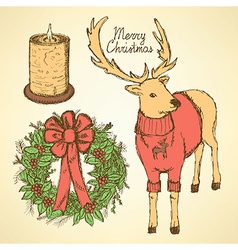 Sketch fancy reindeer with candle and wreath vector