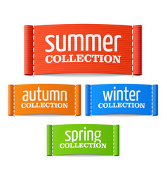 summer autumn winter and spring collection labels vector image vector image