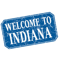 Welcome to indiana blue square grunge stamp vector
