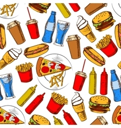 Fast food dinner with drinks seamless pattern vector