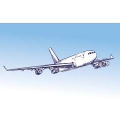 Airliner aircraft hand drawn llustration vector