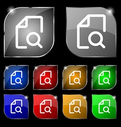 Search documents icon sign set of ten colorful vector